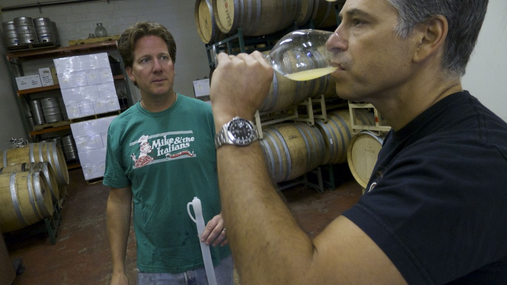 "Pax Mahle (left) and Loren Grossman (right) sample the ""dirty"" Wilde Farm Chalone Chardonnay. Photo courtesy of Wilde Farm Wines."